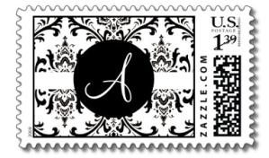 Black & White Damask Monogram A Wedding Postage from Zazzle.com_1245133616872