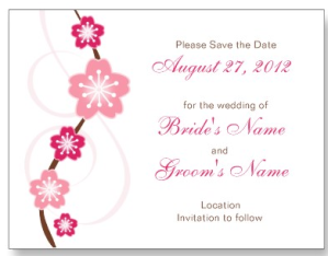 Pink Sakura Save the Date Wedding Postcard from Zazzle.com_1245482549875