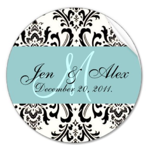 Wedding Monogram Bride Groom Date Paisley Seal Sticker from Zazzle.com_1244617300858