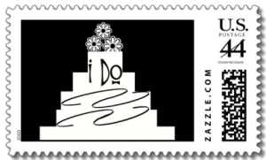 BLACK AND WHITE WEDDING CAKE I DO POSTAGE STAMPS from Zazzle.com_1247210711577