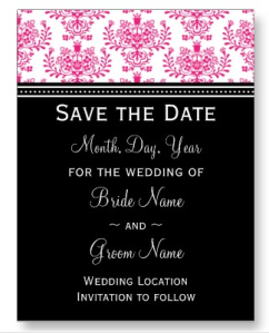 Black & Hot Pink Save the Date Damask Postcard from Zazzle.com_1246513117644