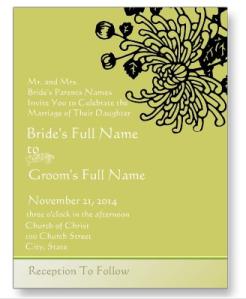 Elegant Black Vintage Flower Wedding Invitation Postcard from Zazzle.com_1248851289402