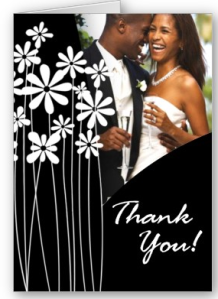 Flower Garden Thank You (black & white) Card from Zazzle.com_1246862249517