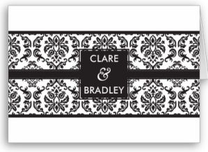 WEDDING INVITATION -- damask landscape black Card from Zazzle.com_1248675401885