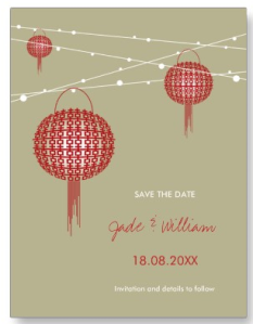 Double Happiness Lanterns Save The Date Postcard from Zazzle.com_1250493351388