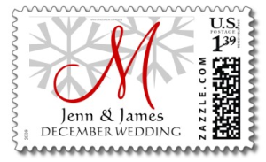 Winter Wedding Announcement Monogram M Postage from Zazzle.com_1249806739776