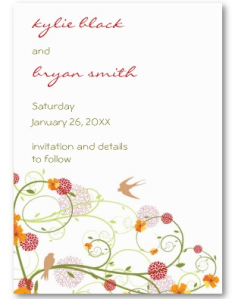 Yellow Floral Swallows Mini Save-the-Date Profile Business card from Zazzle.com_1249280701730